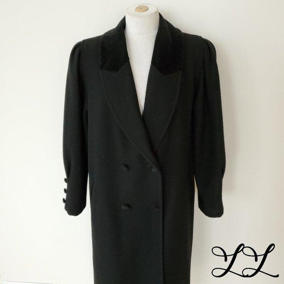 Vintage Black Coat Wool Velvet Long Dressy 80s 90s